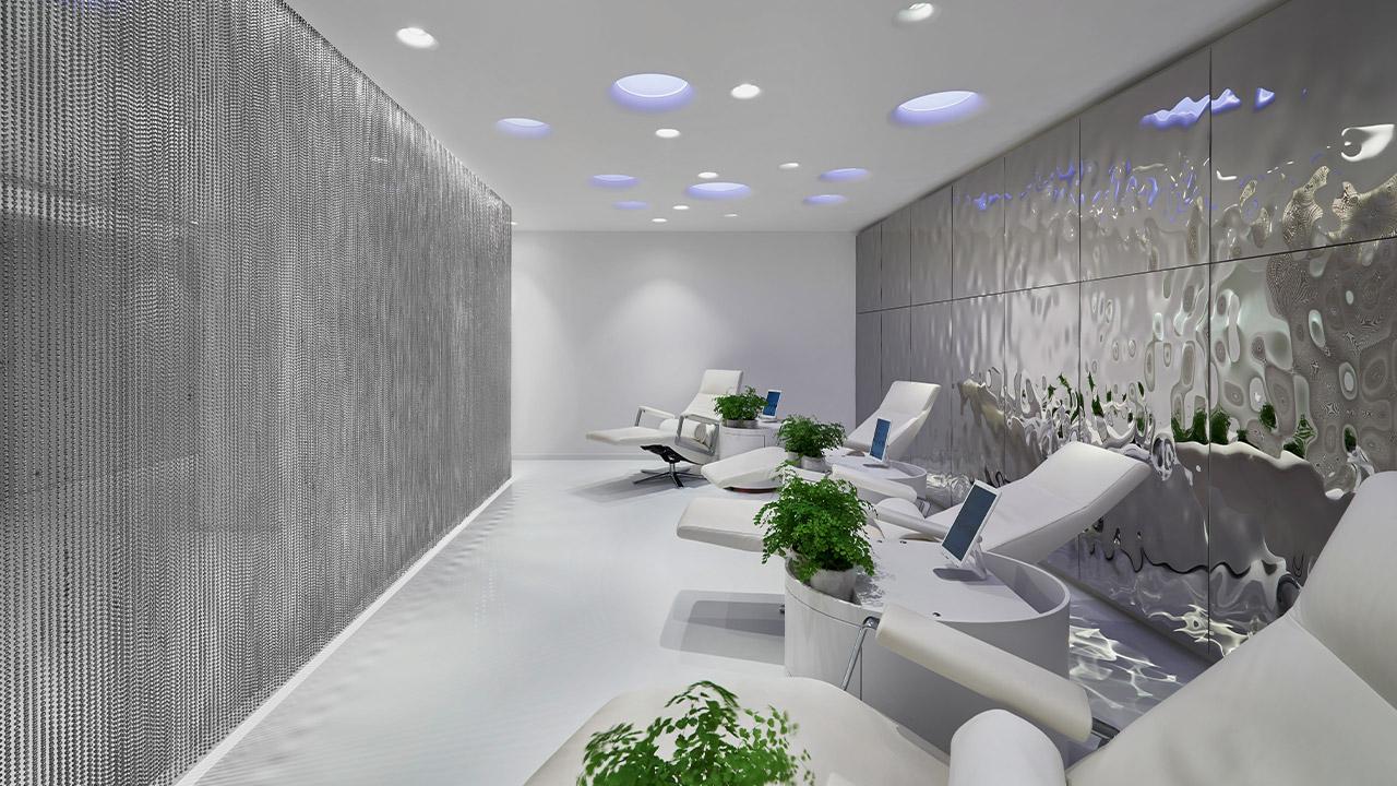 futuristischer Infussionsraum im Lanserhof Resort Lans