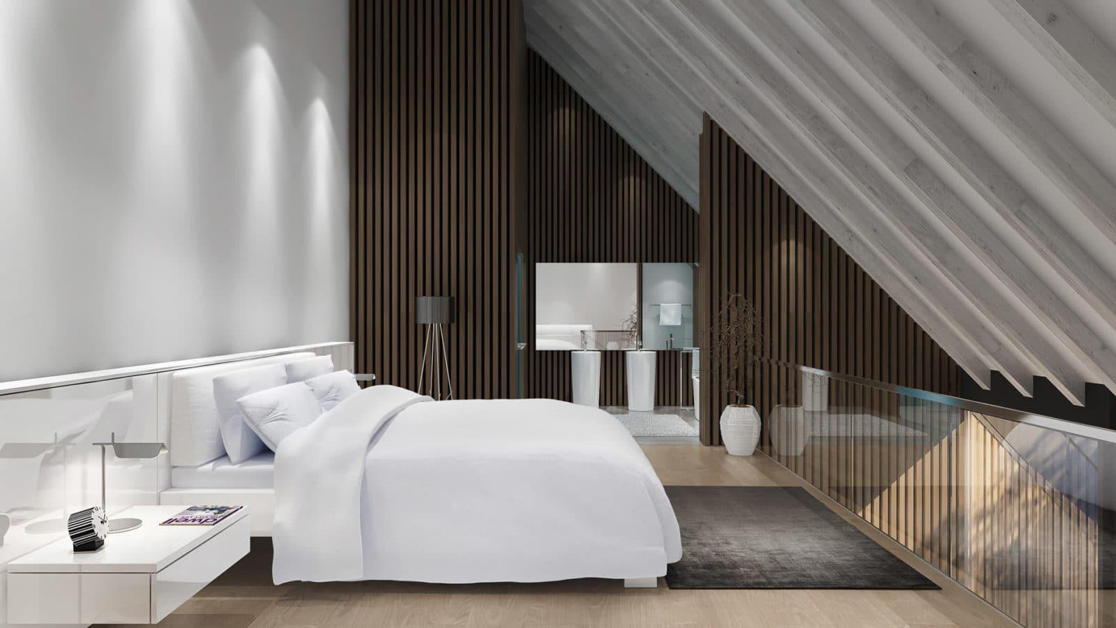 Suite mit Bett im Lanserhof Sylt