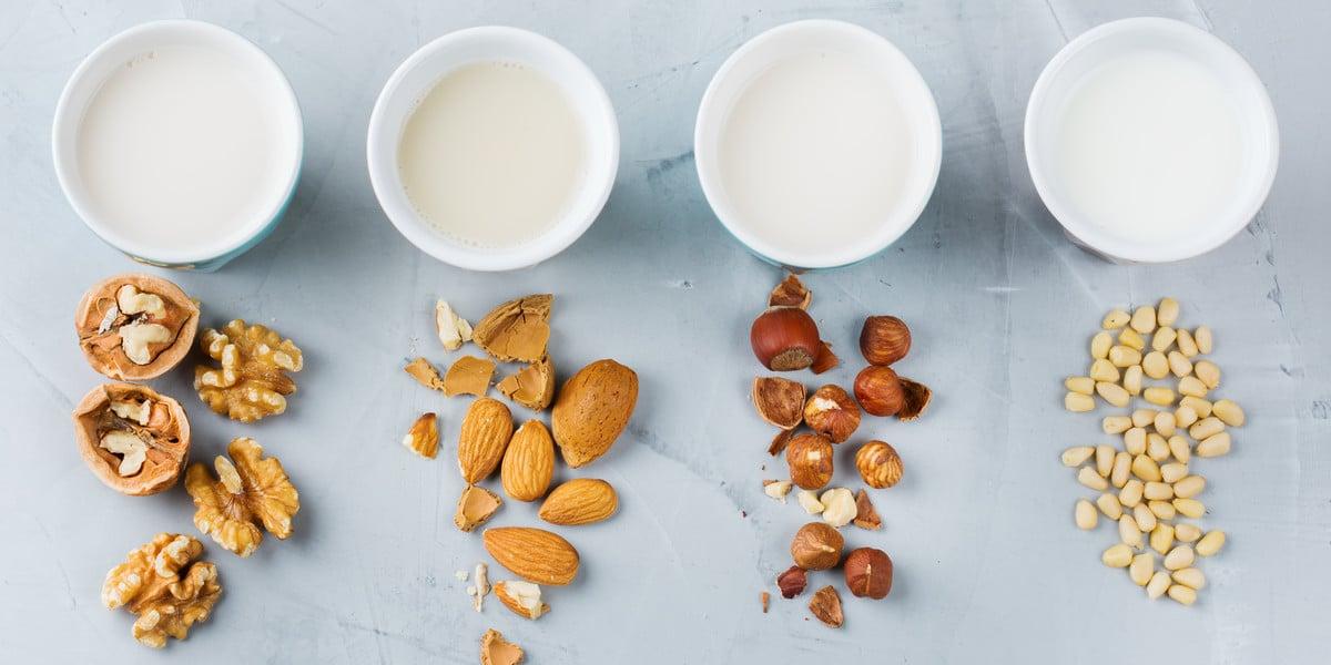 Verschiedene Pflanzenmilch aus Wallnuss, Mandel, Haselnuss und Pinienkern